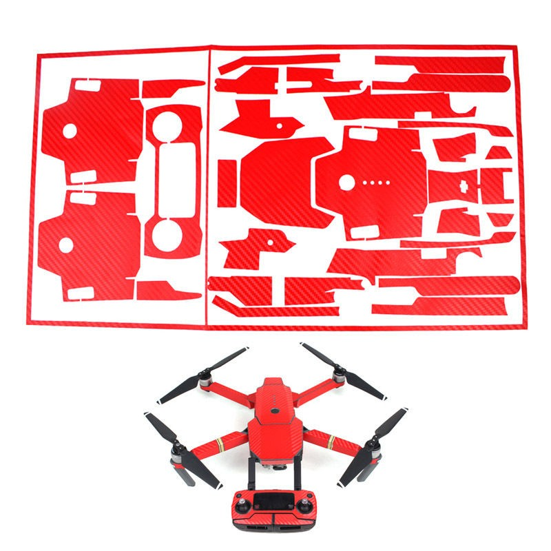 Carbon Fiber PVC Decal Skin Wrap Vinyl Stickers Set For DJI Mavic Pro Drone Red