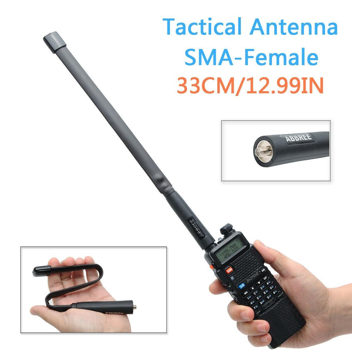 33cm Tactical Antenna SMA-Female Dual Band VHF UHF Foldable For Baofeng Two Way Radio