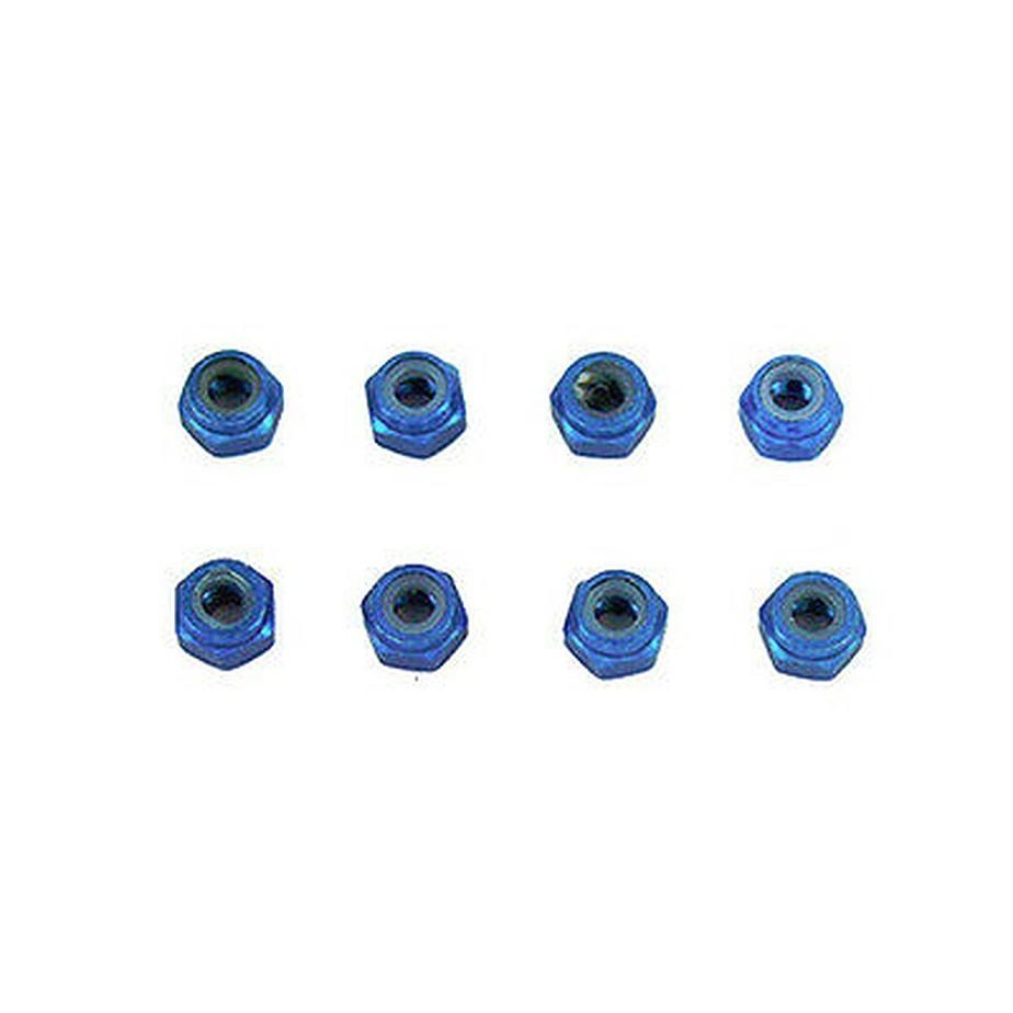 02191B Aluminum Nylon Locknut 6pcs M3 blue Same as 122048 Himoto